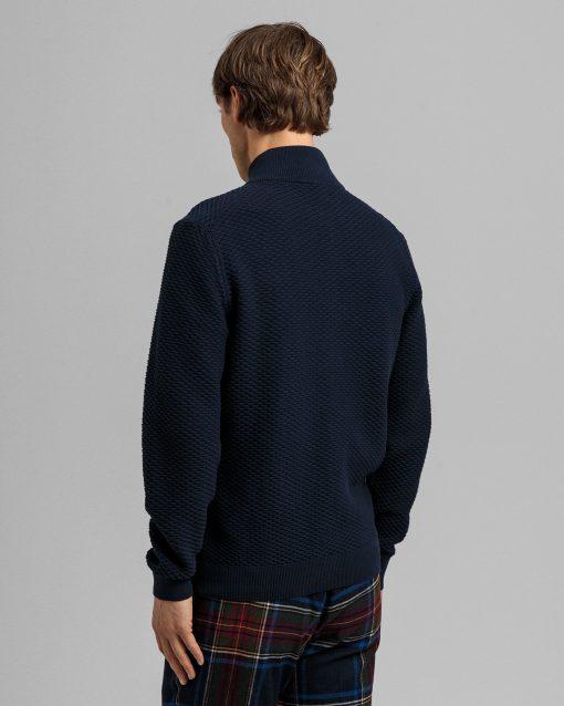 Gant Triangle Texture Full-Zip Sweater Evening Blue