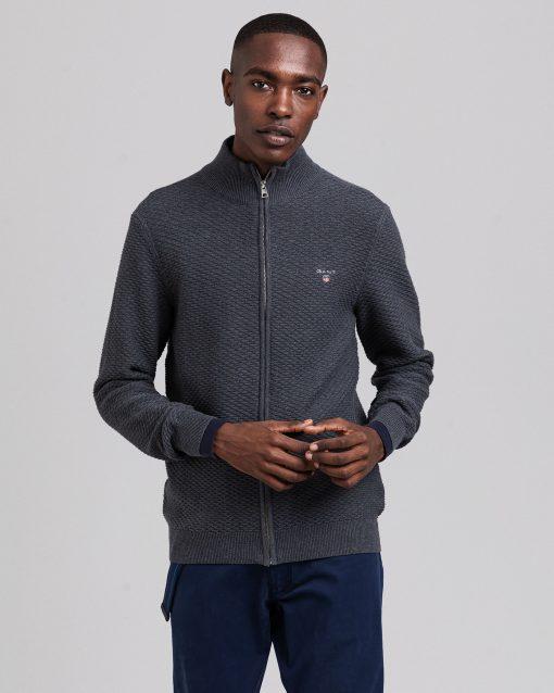 Gant triangle Textures Full-zip Sweater Antracit Melange
