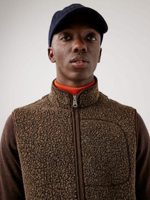 J.Lindeberg Duncan Wool Fleece Vest Umber Brown