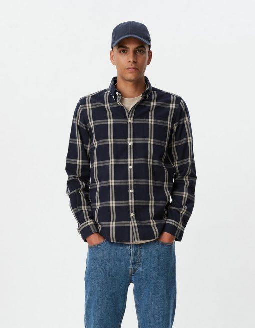 Les Deux Jasper Check Flannel Shirt Dark Navy