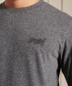 Superdry Organic Cotton Vintage Logo Embroidered Top Grey Black Twist
