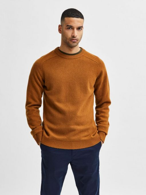 Selected Homme New Coman Lambs Wool Crew Neck Monks Robe