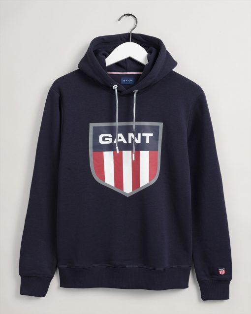 Gant Retro Shield Sweat Hoodie Evening Blue