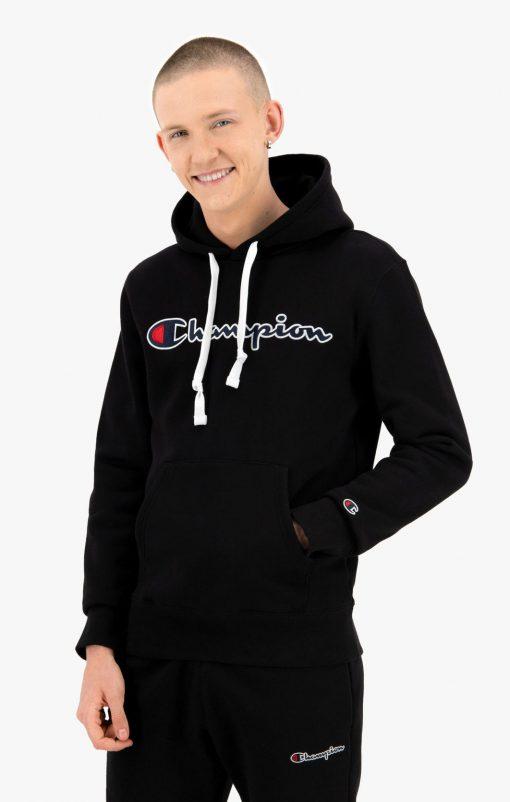 Champion Script Logo Hoodie Black
