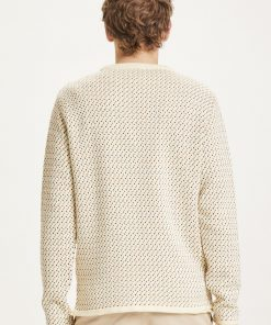 Knowledge Cotton Apparel Valley Jacquard Crew Neck Offwhite