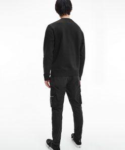 Calvin Klein Leather Monogram Logo Sweatshirt Black