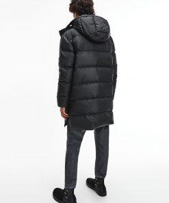 Calvin Klein Long Hooded Puffer Coat Black