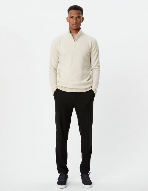 Edgar Half Zip Wool Knit Ivory