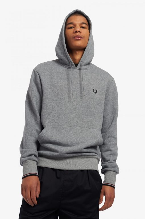 Fred Perry Tipped Hooded Sweatshirt Grey