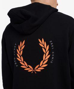 Fred Perry Laurel Wreath Hooded Sweatshirt Black