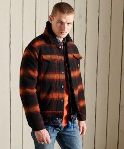 Superdry Highwayman Wool Sherpa Trucker Jacket Redwood Ombre