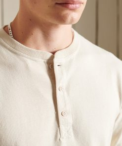 Superdry Organic Cotton Long Sleeve Henley Top Parchment White