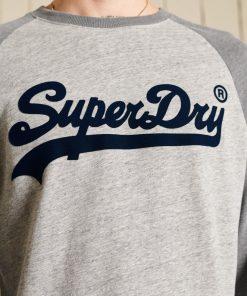 Superdry Vintage Logo Raglan Long Sleeved Top Athletic Grey Marl