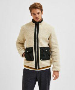 Selected Homme Snowden Fleece Jacket Oatmeal