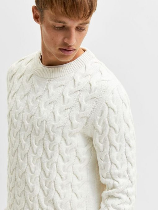Seelcted Homme Cable Knit Jumper Jet Stream