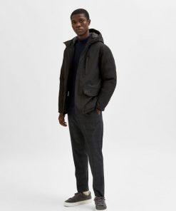 Selected Homme Piet Parka Coat Black