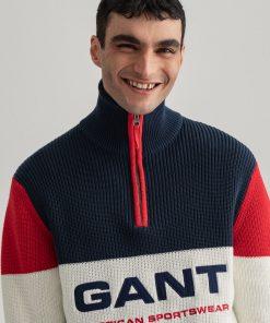Gant Stripe Graphic Half Zip Sweater Marine