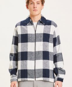 Knowledge Cotton Apparel Pine Checked Heavy Flannel Shirt Navy