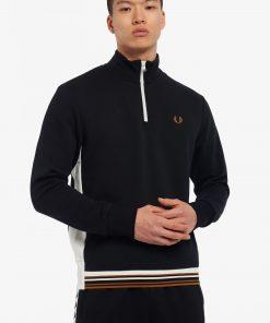 Fred Perry Contrast Panel Half Zip Sweatshirt Black